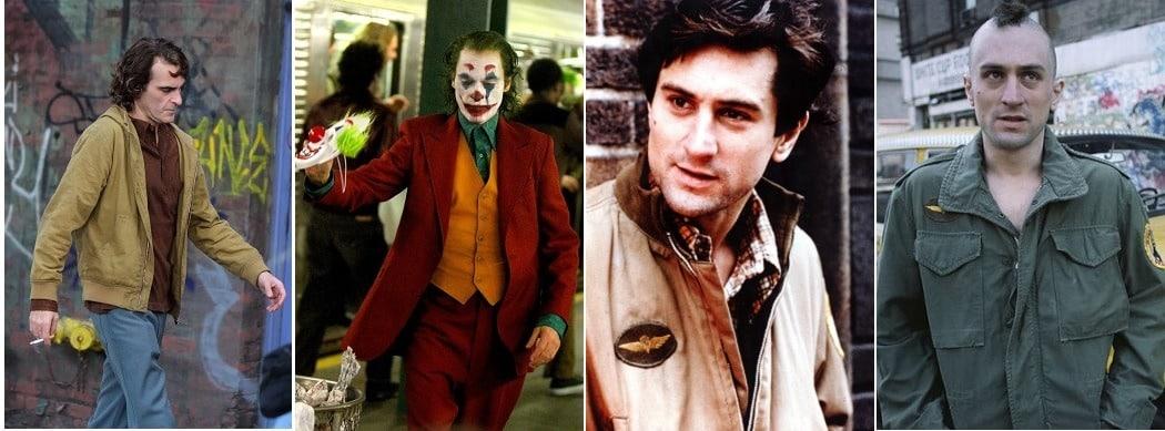 Vergleich Joker und Taxi Driver: Die optische Veränderung von Arthur Fleck zum Joker und von Travis Bickle zum Killer mit Irokesenschnitt dargestellt in vier Bildern.
