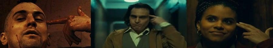 Vergleich Joker und Taxi Driver: Zwei Kopfschussgesten aus Joker im Vergleich zur Kopfschussgeste in Taxi Driver