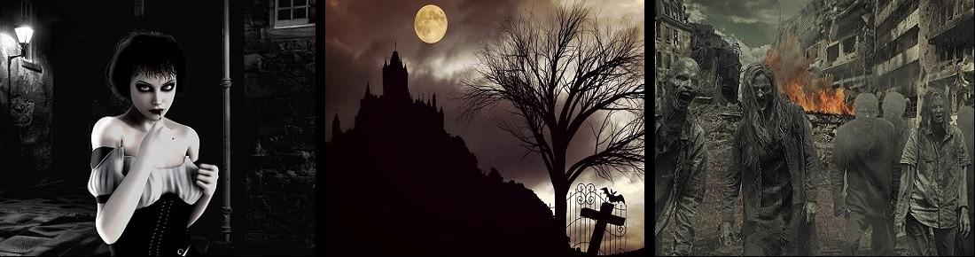 Vampirin, Schloss und Zombies in einer Großstadt als typische Motive des Horror-Genres