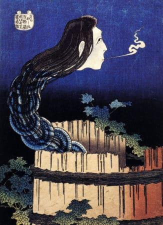Der japanische Geist Okiko in Form eines aus Tellern bestehenden schlangenartigen Wesens