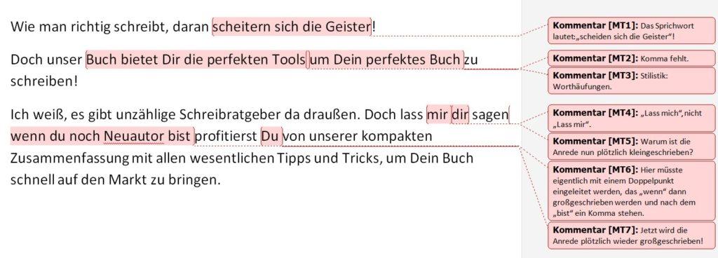 Beispiel für den Werbetext eines Schreibcoaches, der voller Rechtschreibfehler ist.