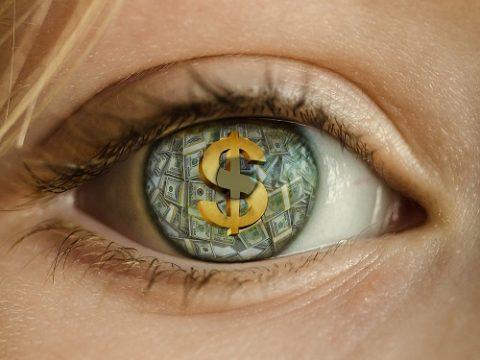Auge eines Schreibcoachs mit Dollarzeichen im Blick