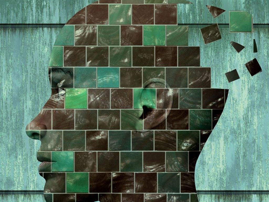 Profilansicht eines Gesichts, das in Kästchen unterteilt ist. Am Hinterkopf fliegen einige der Kästen heraus.