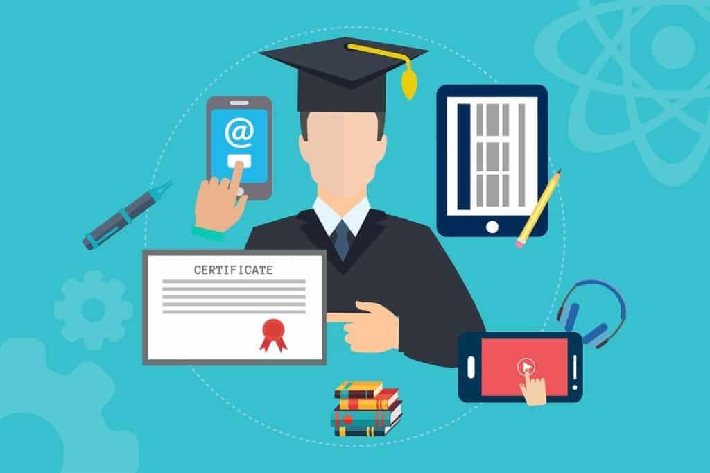 Zertifikate und Veröffentlichungen als Beleg für professionelles Schreibcoaching um eine gezeichnete Figur angeordnet.