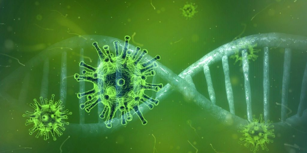 Coronavirus und die Zombie Zone: Das Corona-Virus vor einem DNA-Strang