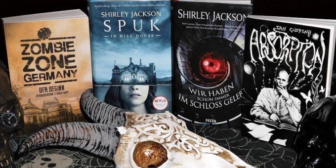 Horror-Bücher-Verlosung: Bücher, die bei einem gewinnspiel verlost werden, von Shirley Jackson, Ian Cushing, Zombie Zone Germany