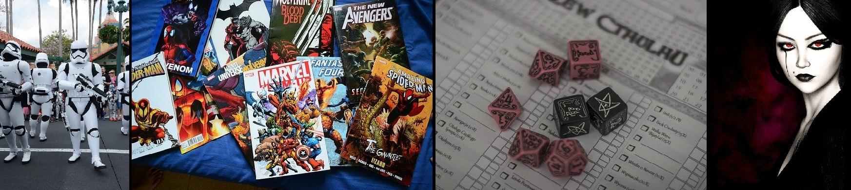Unterschiedliche Arten von Nerds: Cosplayer und Science-Fiction-Fans, Comic-Sammler, Rollenspieler, Horrorfreaks & Goths