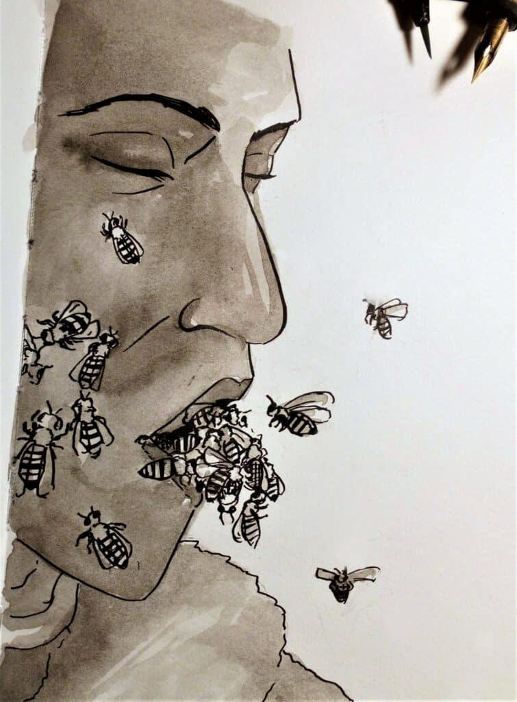 Zeichnung von Tony Todd als Candyman, dem Bienen aus dem Mund krabbeln und fliegen
