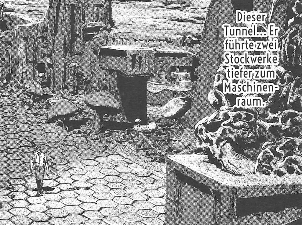"""Peaslee durchstreift in Gou Tanabes Manga """"Der Schatten aus der Zeit"""" die Stadt der großen Rasse von Yith."""